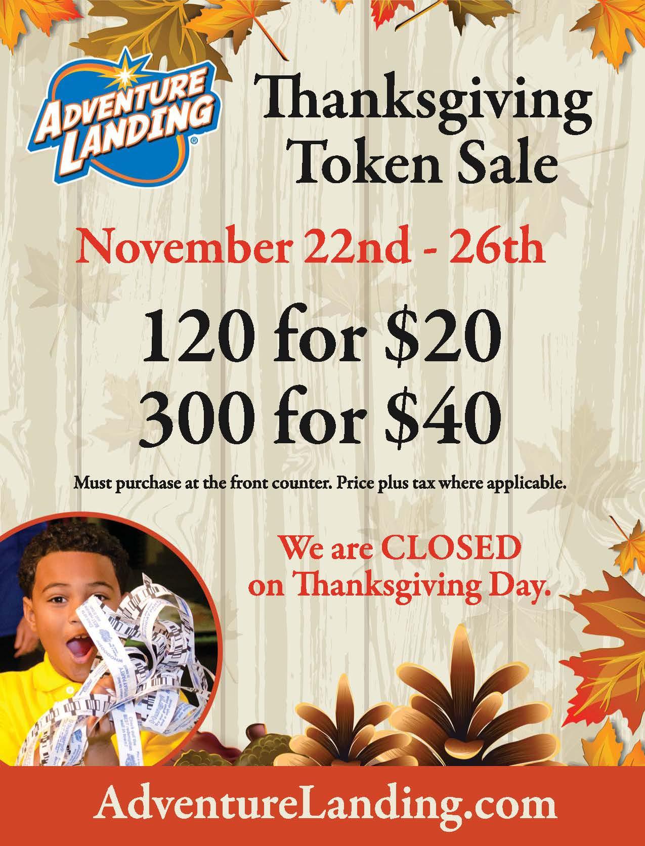 Thanksgiving Token Sale Jacksonville Beach